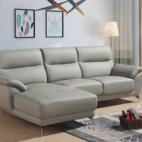 Divani Casa Fortson Modern Grey Eco-Leather Sectional Sofa w/ Left Facing Chaise