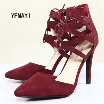 New Women High Heels Shoes Fashion Pointed Toe Women's Pumps Sexy Ankle Strap Thin Heels Side empty Women Sandals Shoes Big Size