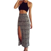 Finejo Women Sexy Summer Two Piece Set Dress Bralet Cami Crop Tops+Long Maxi Skirt