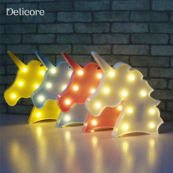 DELICORE Cute Unicorn Head Led Night Light