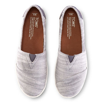 GREY TEXTURED WOVEN WOMEN'S AVALON SLIP-ONS
