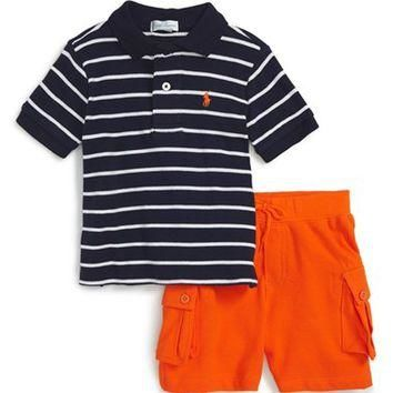 Ralph Lauren Stripe Polo & Shorts (Baby Boys) | Nordstrom