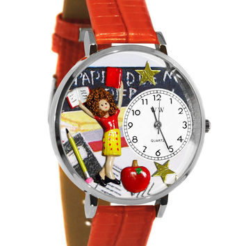 Whimsical Watches Designed Painted Kindergarten Teacher Red Leather And Silvertone Watch