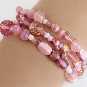 3 strand bracelet pink glass beads fun bracelet best friend birthday gift