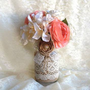 burlap and lace covered rustic mason jar vases - wedding decoration, bridal shower decoration, rustic decoration