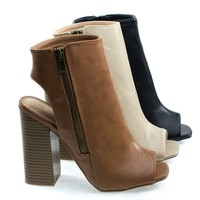Darlyn06 By Wild Diva, Peep Toe Ankle Booties On Stack Chunky Block Heel w Open Heel & Zipper