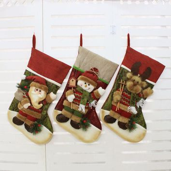 2017 Christmas Stocking Santa Claus/Snowman/Deer Sock Gift Xmas Tree Decorations Big Stockings Christmas Decorations For Home