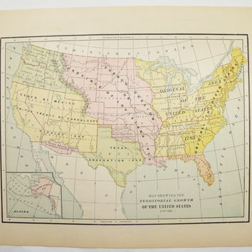 United States Map US Territory Growth 1897 Historical Map Unique Gift Idea for History Buff Vintage Wall Map Art US American History Gift