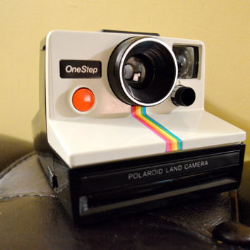 1977 Vintage Polaroid OneStep SX-70 Land Camera Rare Rainbow Edition with Original Leather Bag and Flash