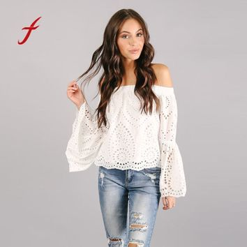 Feitong Summer 2018 Women Tops And Blouses Sexy Off Shoulder Hollow Lace Shirt Ladies Long Sleeve Fashion Korean Style Clothing