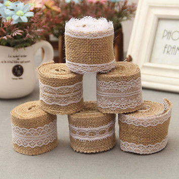 2M Wedding Lace Burlap Garland Hessian Ribbon Christmas Gifts Roll Rustic HU