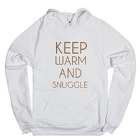 Keep Warm And Snuggle-Unisex White Hoodie