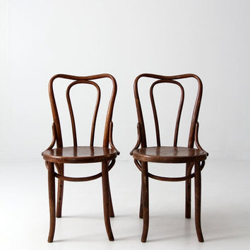 FREE SHIP antique bentwood chairs / thonet style cafe chair pair