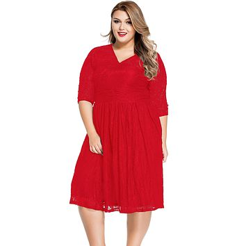 Red Lace V Neck Curvy Skater Dress