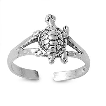 Sterling Silver Turtle 10MM  Toe Ring/ Knuckle/ Mid-Finger