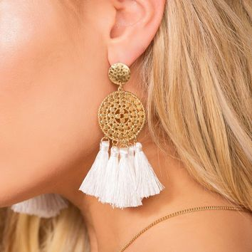 Naomi White Tassel Earrings