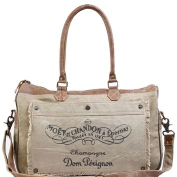 Myra Bag Champagne Up-cycled Canvas Messenger S-0903