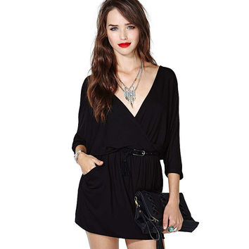 Black Deep V-Neck Wrap Loose Mini Dress