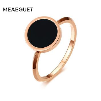 Meaeguet Rose Gold Color Women's Simple Rings Stainless Steel Black Stone Finger Ring Fashion Cocktail Jewelry