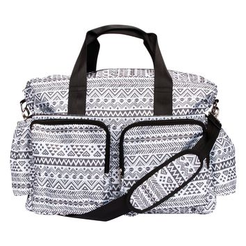 Black and White Aztec Deluxe Duffle Diaper Bag