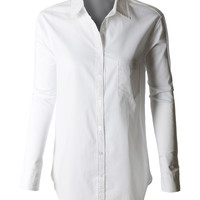LE3NO Womens Oversized Long Sleeve Button Down Boyfriend Shirt (CLEARANCE)