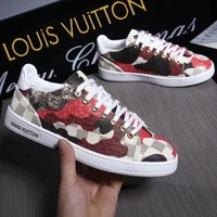 LOUIS VUITTON Sneakers Lv Women Men Shoes B-ALS-XZ Print Red/Grey