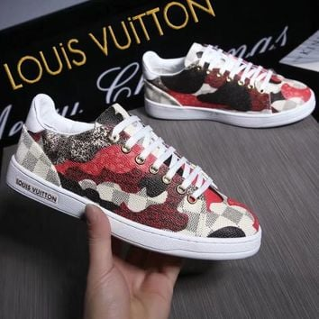 fabbe329ead8 LOUIS VUITTON Sneakers Lv Women Men Shoes B-ALS-XZ Print Red Gre