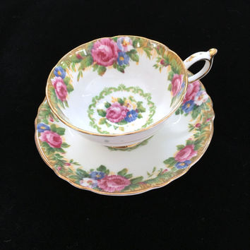 Antique Paragon Tea Cup and Saucer, Tapestry Rose Pattern, English Bone China, Vintage Needle Point, Christmas Gift for Mom