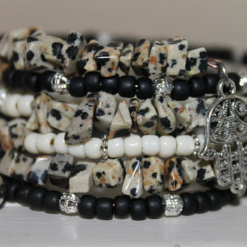 Wrap bracelet Memory Wire, natural dalmatian chip beads,, glass beads, charms and spacers