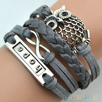Multilayer Infinity Owl Charm Handmade Leather Bracelet Cuff Bangle Chain = 1651279428
