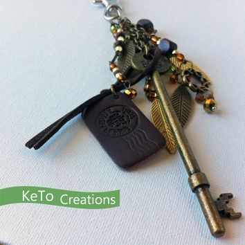 Brass Skeleton Key Purse Charm, Antique Look, Earth Tones Key Fob with Feathers To Personalize Your Bag