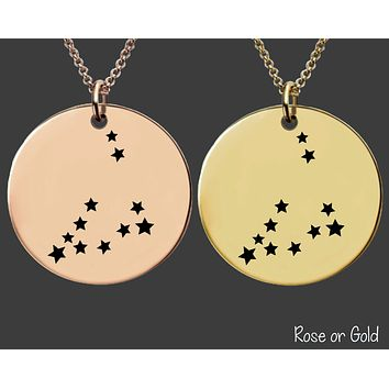 Capricorn Constellation Necklace | Rose Gold or Gold Zodiac Necklace