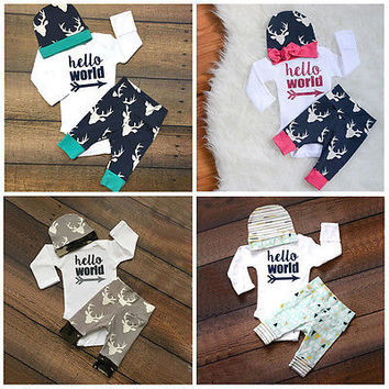 3pcs 2016 new fall spring Cute Newborn Baby Girl Boy Clothes Deer Tops T-shirt Pants Casual Hat Cap 3pcs Outfits Set Autumn