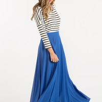 Petite Amelia Full Blue Maxi Skirt