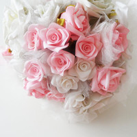 Bridal bouquet, wedding bouquet, Bridal accessories, rose bouquet, pink and ivory roses bouquet, SPRING