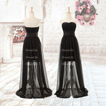 Black Strapless Empire Waist See Through Skirt Prom Dresses/Evening Dresses/cocktail Dress/Party Dress/X058