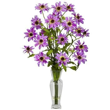 Silk Flowers -Purple Cosmos With Vase Flower Arrangement Artificial Plant