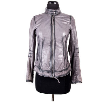 Grey Leather Moto Jacket Size:0