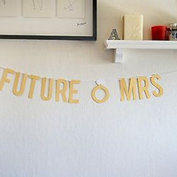 Metallic Gold Future Mrs Bridal Shower Bachelorette Wedding Banner Photo Prop