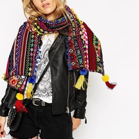 ASOS Oversized Woven Geo-Tribal Scarf With Pom Trim Detail