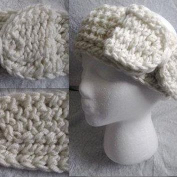 Crochet Eggshell White, Red, or Maroon/Plum Headband Ear warmer with Bow (Medium)