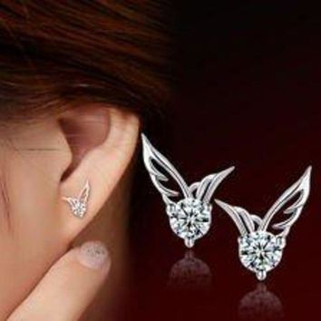 DCCKV2S Smile Crytal - Fashion Women 925 Sterling Silver Jewelry Angel Wings Crystal Ear Stud Earrings