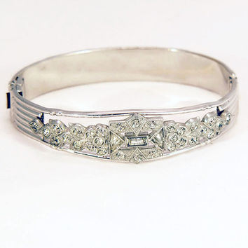 Art Deco Rhodium Filigree Bangle Bracelet c. 1920s by AL Lindroth, Sterling