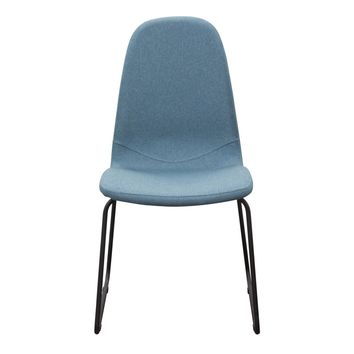 Set of (2) Finn Dining Chairs in Denim Blue Fabric with Metal Leg