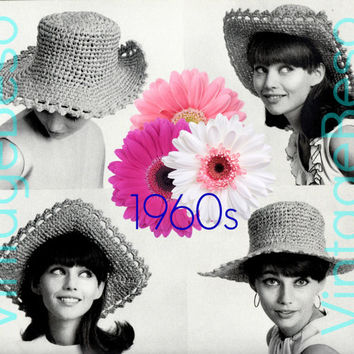 Square Brim HAT CROCHET Pattern 60s Vintage Beso Crochet Pattern Instant Download PDF ebook Easy Crochet Pattern Easy Hat Single Crochet