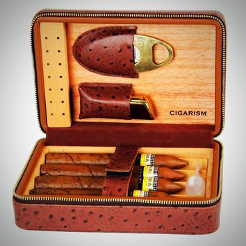 Leather Cedar Cigar Travel Case Humidor Lighter Cutter Set