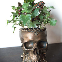 Human Skull Planter, Bronze Finish