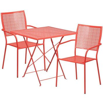 28'' Square Indoor-Outdoor Steel Folding Patio Table Set with 2 Square Back Chairs