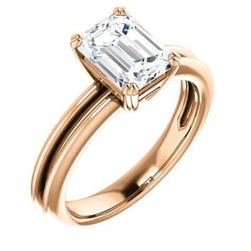 1.5 Ct Emerald Solitaire Diamond Engagement Ring 14k Rose Gold