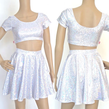 Silver Hologram Set - Crop Top & Circle Skirt